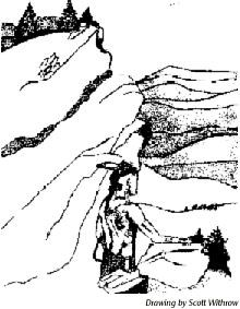 drawing of a Native American in the mountains