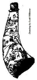 drawing of powderhorn with scrimshaw