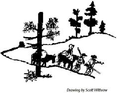 drawing of settlers moving