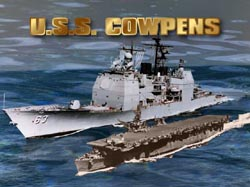 Image of both USS Cowpens ships, CG-63, and CVL-25