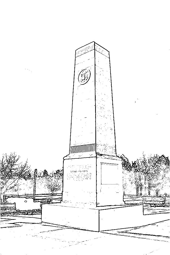 coloring book image of the 1932 US Monument