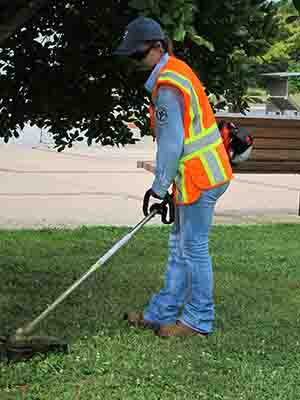 A YCC member wearing personal protective equipment is using a weedeater.