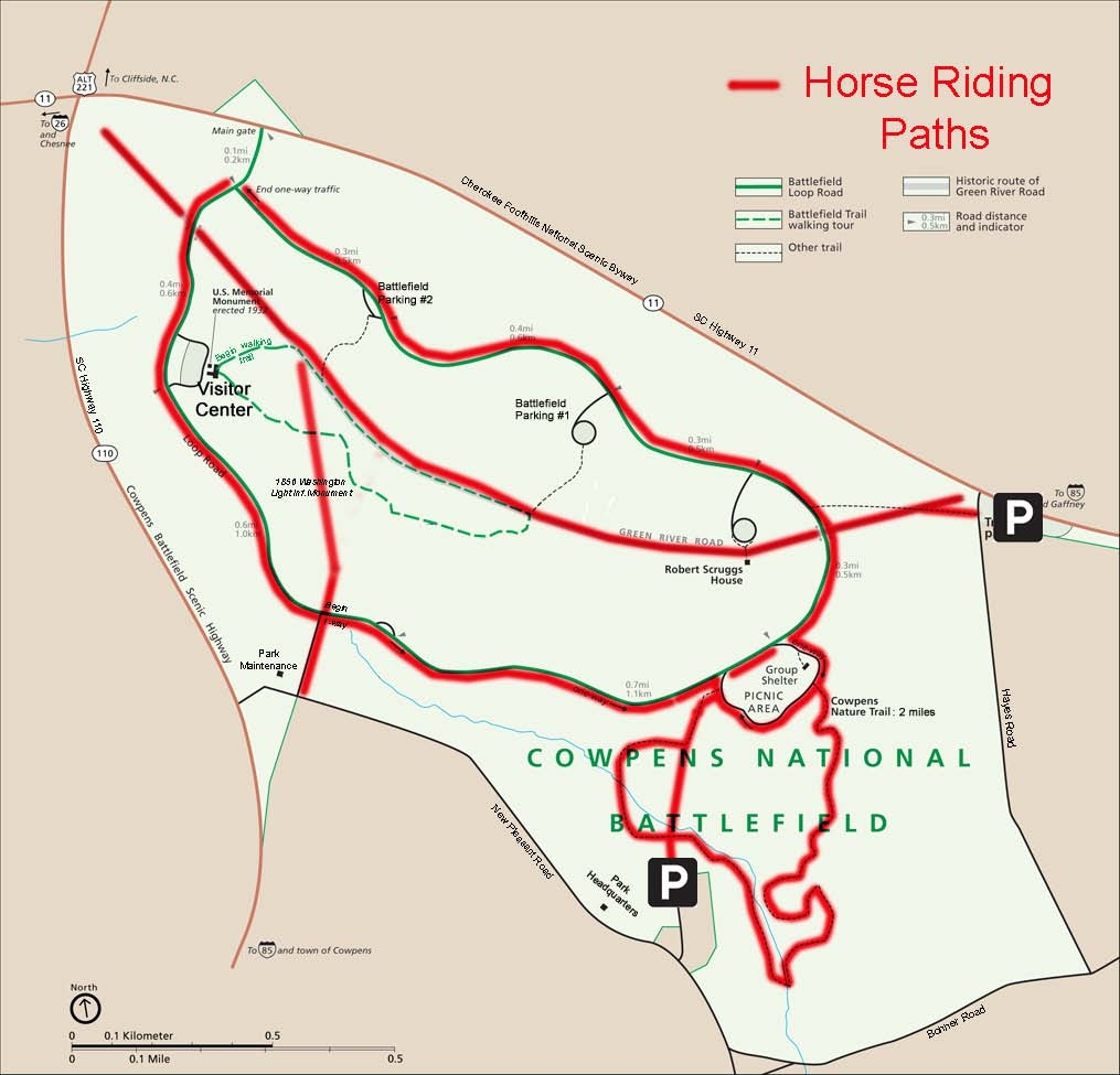 map of park showing where horses are allowed