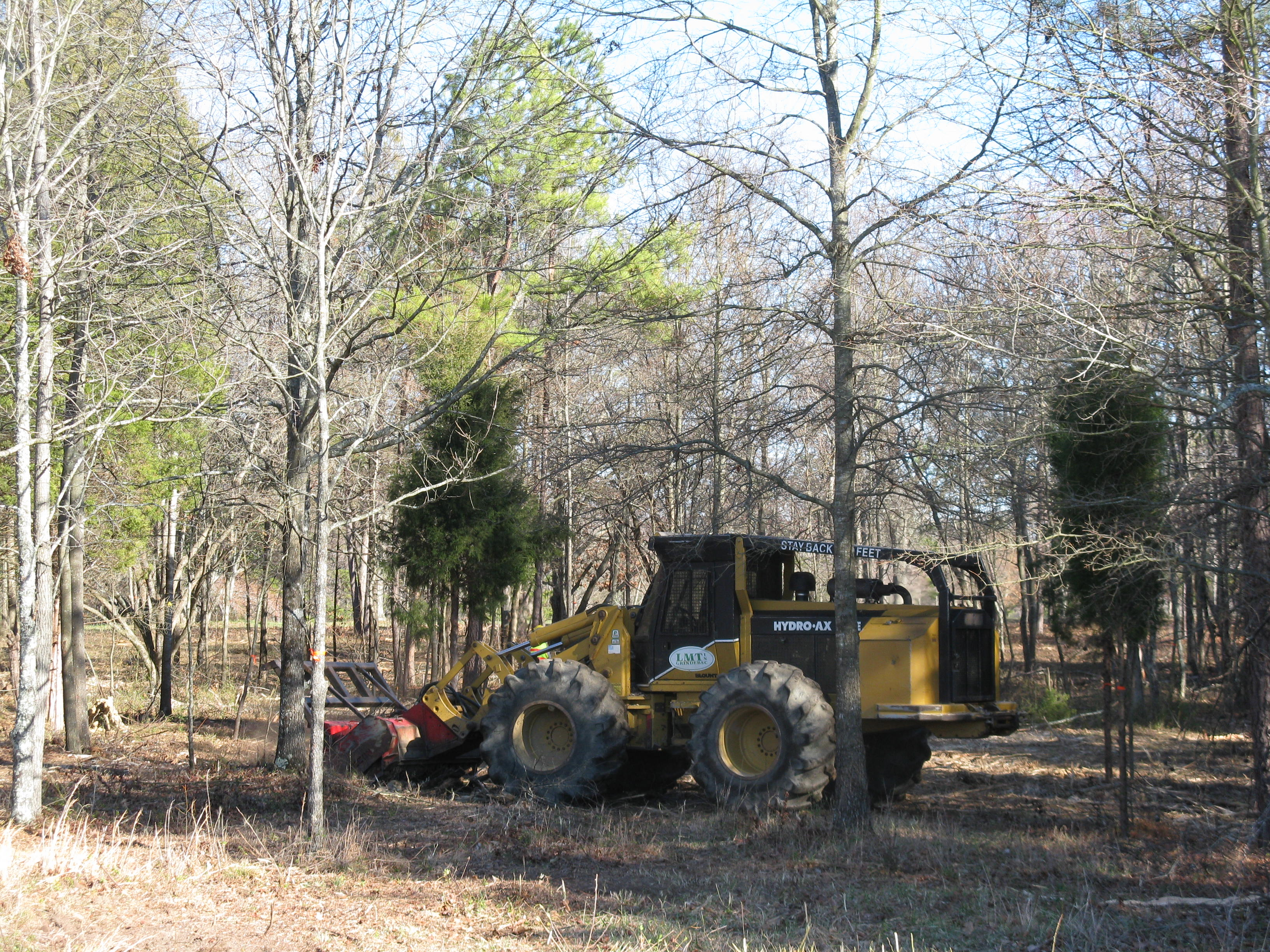 A GyroTrac performs mechanical fuel reduction at Cowpens National Battlefield.