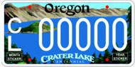Sample Crater Lake License Plate