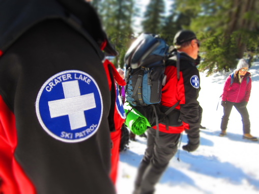 Ski patrol at Crater Lake.