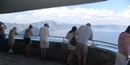 Visitors viewing Crater Lake from the Sinnott Memorial.