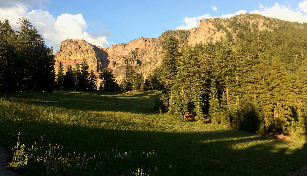 Sun Notch is a grassy meadow surrounded by conifers