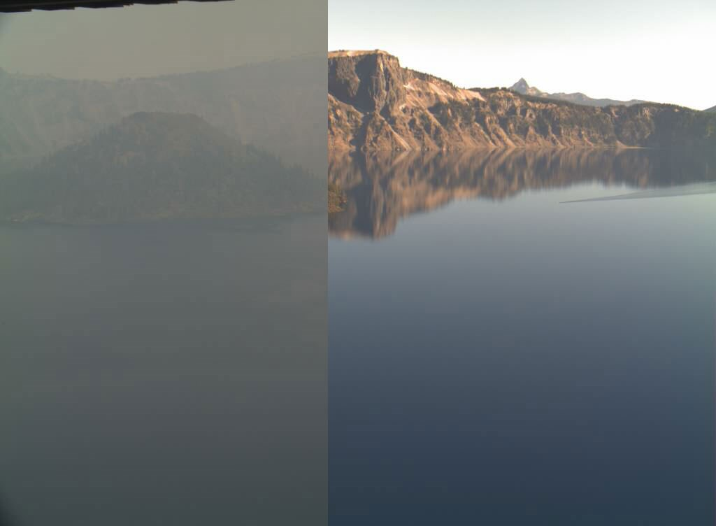 Shows a split image of Crater Lake with and without smoky conditions.