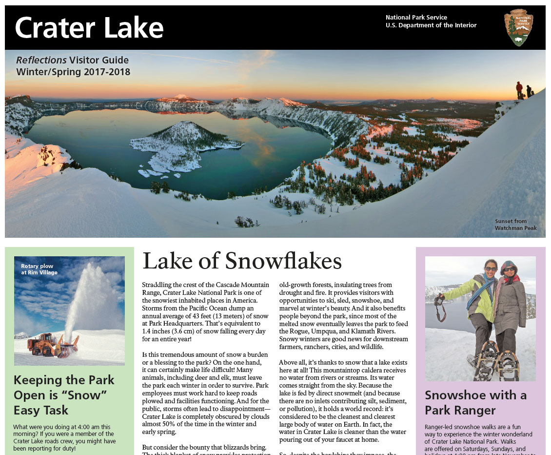 Park Newspaper Crater Lake National Park US National Park Service
