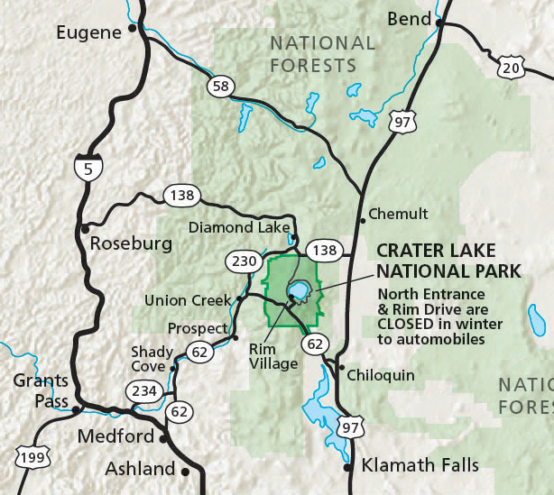 U Of Oregon Map.Alerts Conditions Crater Lake National Park U S National Park