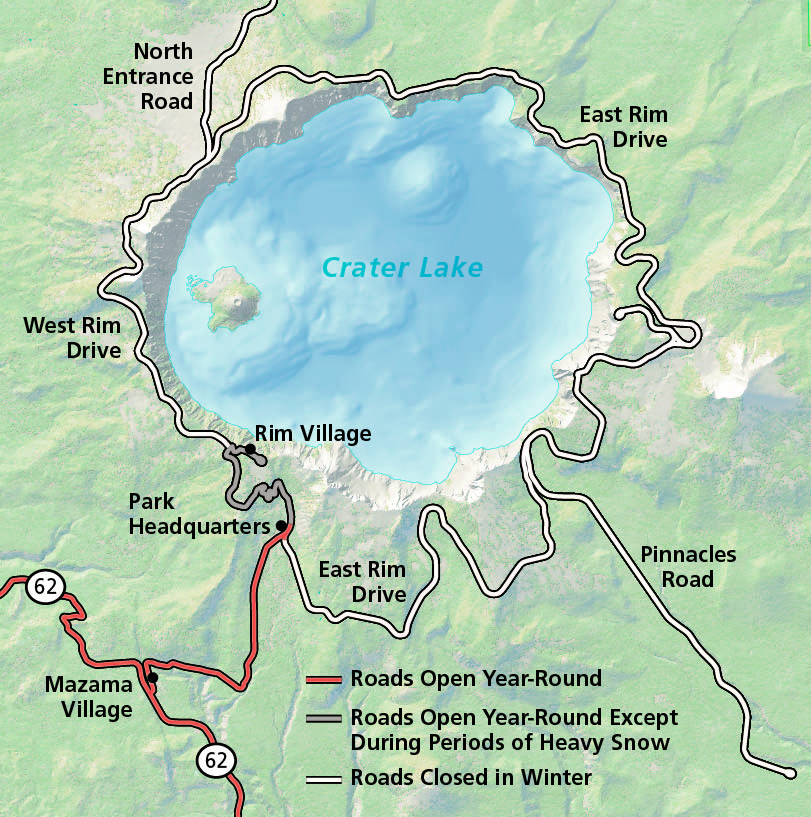Maps Crater Lake National Park US National Park Service