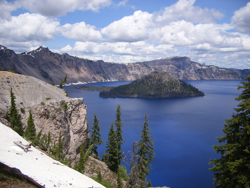 View of Wizard Island from the porch of the Crater Lake Lodge