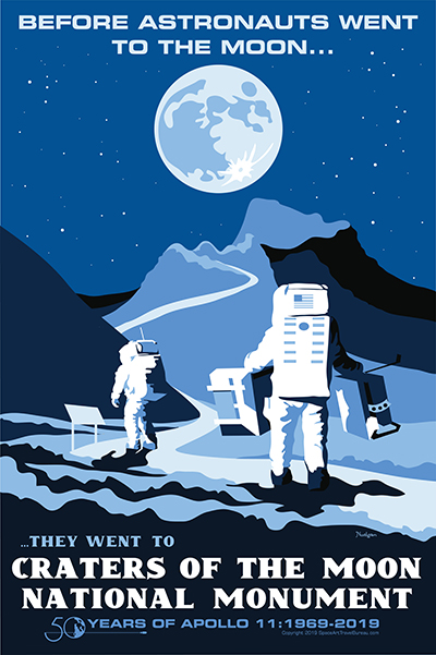 Poster depicting astronauts at Craters of the Moon and celebrating the 50th anniversary of Apollo 11.