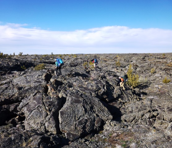 hiking across lava