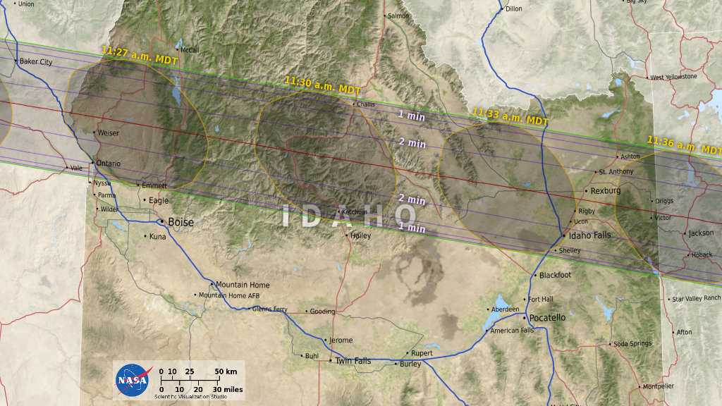 eclipse path in Idaho
