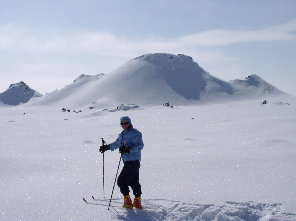 skier in front of cone
