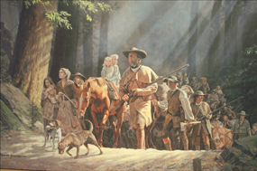 Painting by David Wright showing Daniel Boone and other pioneers travelling through the Cumberland Gap into Kentucky