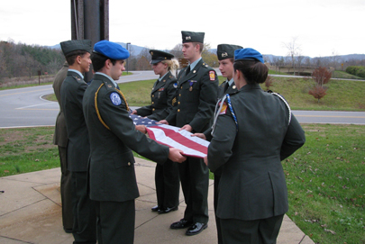 ROTC students participate in flag retirement ceremony