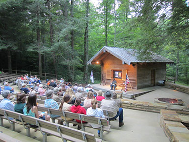 park visitors attending campfire program