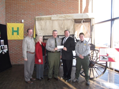 Left to Right:  Stephen Dean, President FamFive Productions; Carol Campbell, Director of Programs and Tourism, Abraham Lincoln Library and Museum; Mark Woods, Superintendent, Cumberland Gap National Historical Park; John Brown, Chairman, Friends of Cumberland Gap; Carol Borneman, Park Ranger, Cumberland Gap National Historical Park