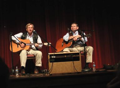 Musicians Ken Childress and Jimmy Mullins perform traditional music of the mountains