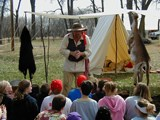 reenactor with students