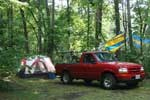 truck and tent at the campground