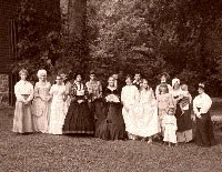 ladies dressed in historic clothing