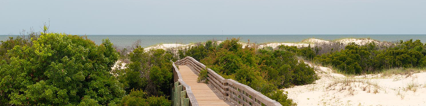 A Boardwalk crosses the sand dunes to the beach