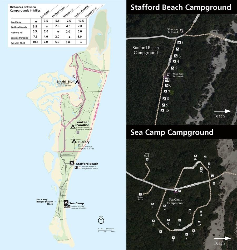 Florida Campgrounds Map.Maps Cumberland Island National Seashore U S National Park Service