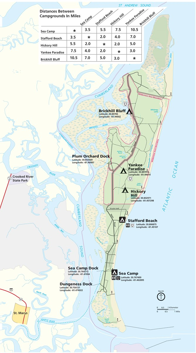 Map of Cumberland Island waterways with way finding coordinates