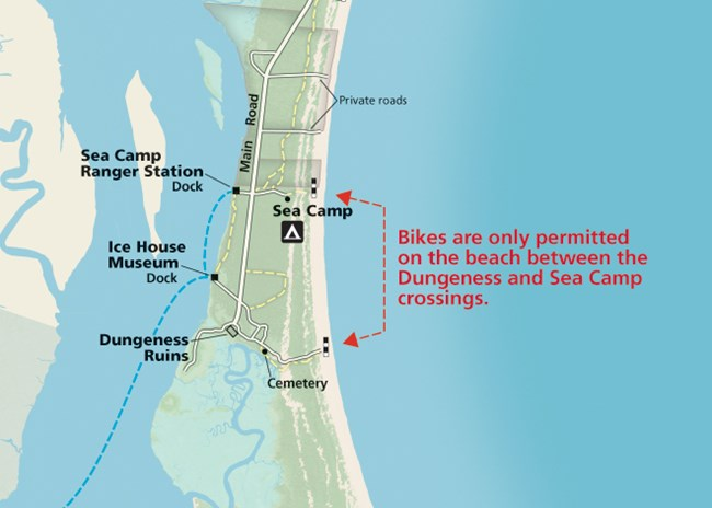 map showing area of beach where private bikes are permitted