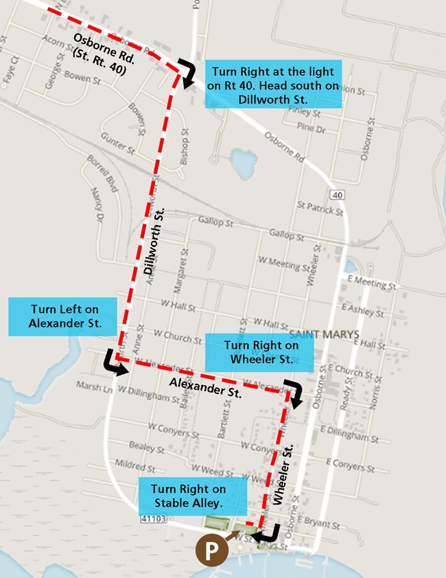map of downtown St. Marys showing alternative route to parking lot