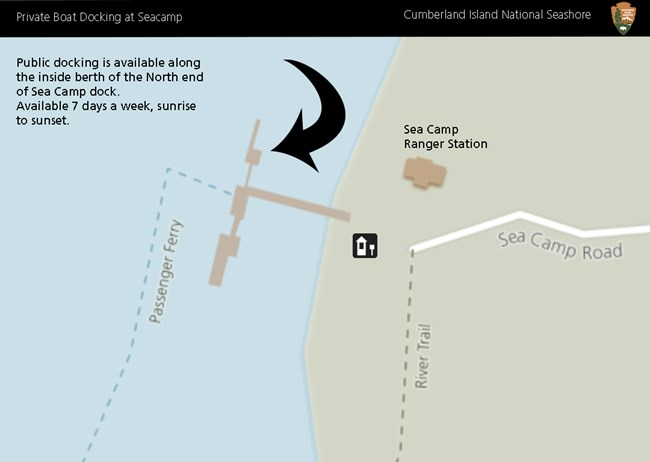Map showing where private boaters can dock at Sea Camp