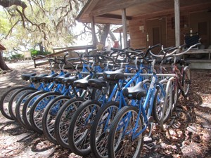 bikes in a rack next to Sea Camp Ranger Station