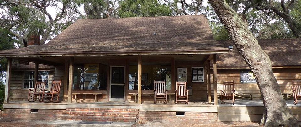 Ranger station with large front porch and rocking chairs