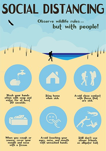 "Infographic entitled ""Social Distancing"" with illustrations of a person climbing a mountain and a hiker near trees. Additional text and graphics include ""Observe wildlife rules...but with people!; an image of washing hands with text ""Wash your hands often"