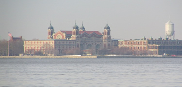Ellis Island from across New York Harbor.