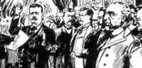 A 1901 sketch of Theodore Roosevelt taking the oath of office in Buffalo, NY.