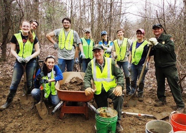 Group of Rangers and Student Volunteers working within CVNP