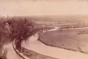 Historic photo of the Cuyahoga River in CVNP