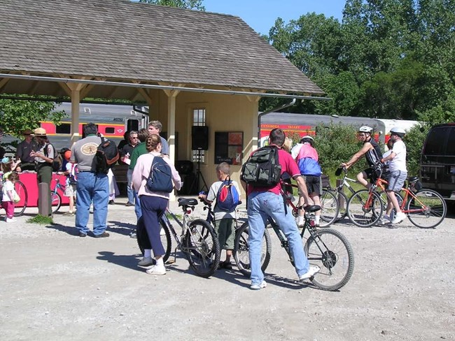Crowd of Bikers at the train station