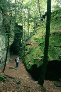 Two hikers looking up moss-covered sandstone cliffs at Ritchie Ledges.