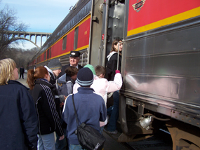 Students boarding train