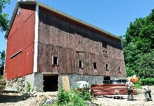 Brown-Bender barn rehabilitation project in summer