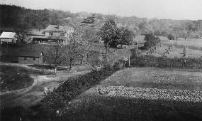 Historic photo of a valley farmstead with buildings and crop fields and trees in the background.