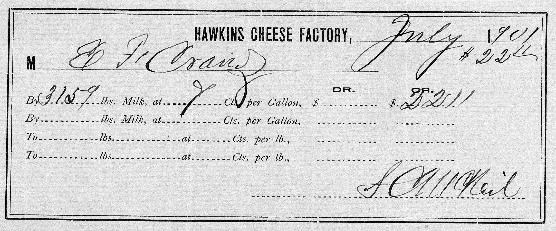 Cheese factory receipt.