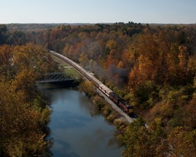Scenic railroad passes through the  valley, beside the Cuyahoga River.