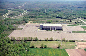 Aerial view of Richland Coliseum prior to demolition creating the Coliseum Grasslands